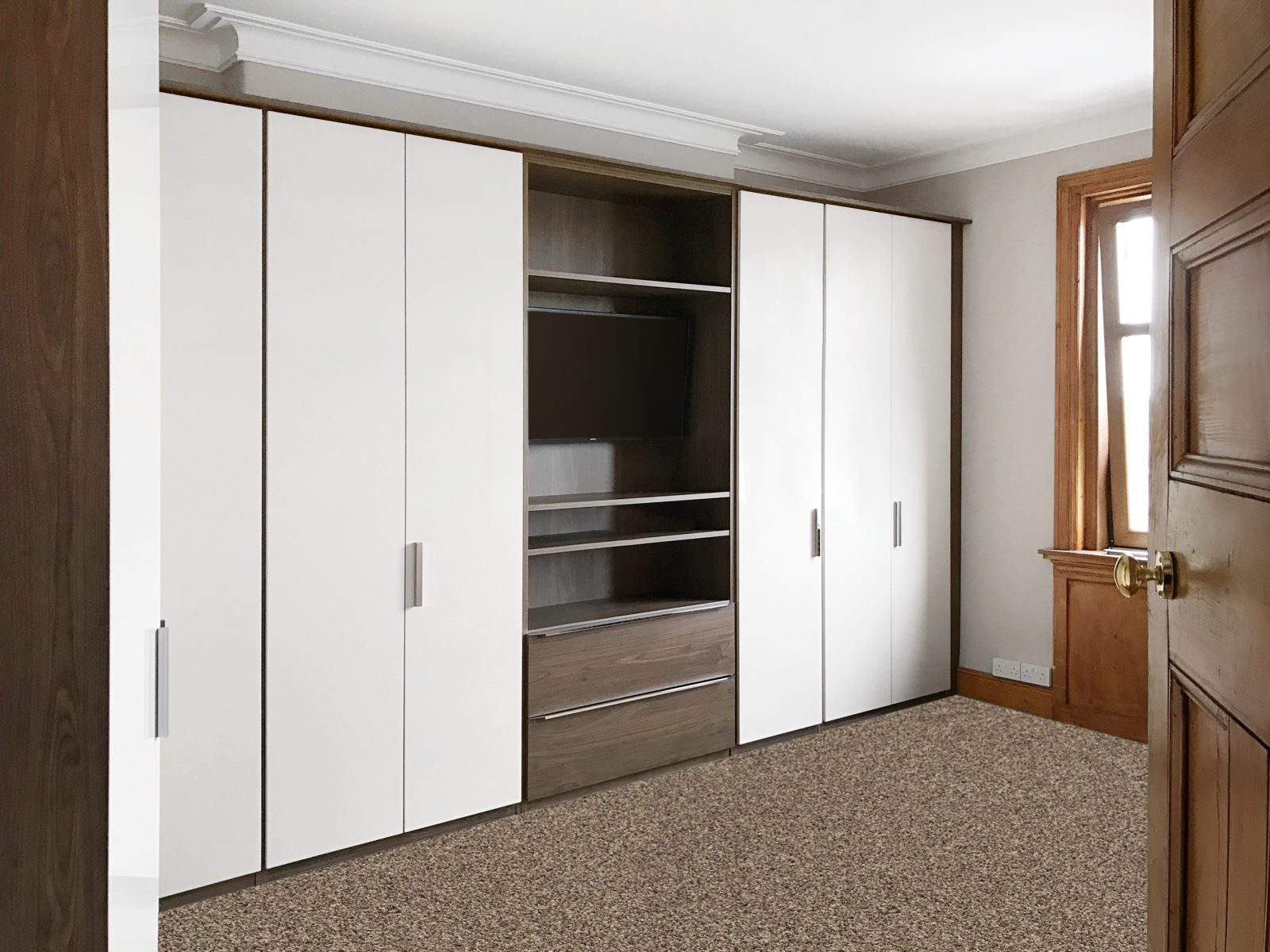Bespoke fitted wardrobes around a chimney breast in edinburgh Build your own bedroom wardrobes